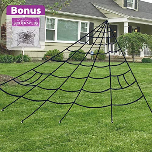 Pawliss Giant Dense Spider Web with Super Stretch Cobweb Set, Halloween Decor Decorations Outdoor Yard, Black, 16 Feet -