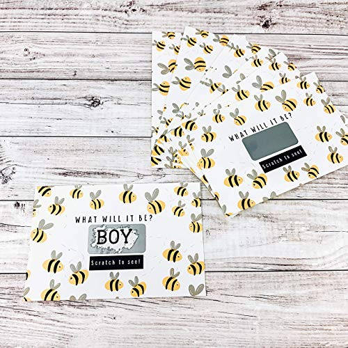 Bee Themed Gender Reveal Scratch Off Cards Party Supplies Baby Shower It's a Boy - Set of 12 -