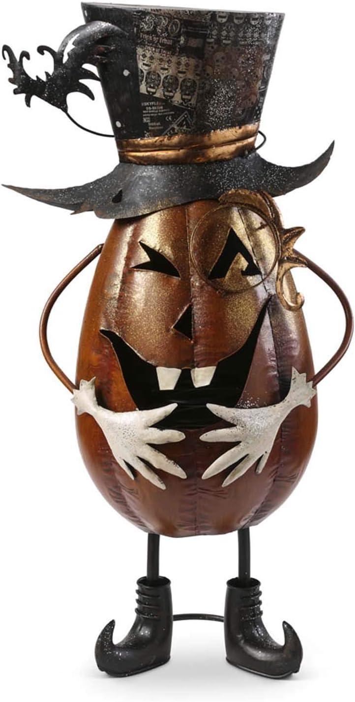 K&K Interiors 41083D 27 Inch Metal Jack O Lantern Top Hat, Orange