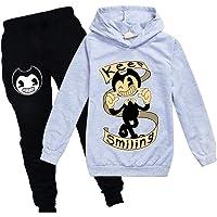 FINDPITAYA Bendy Niños Sudaderas y Pantalones Negro/Gris