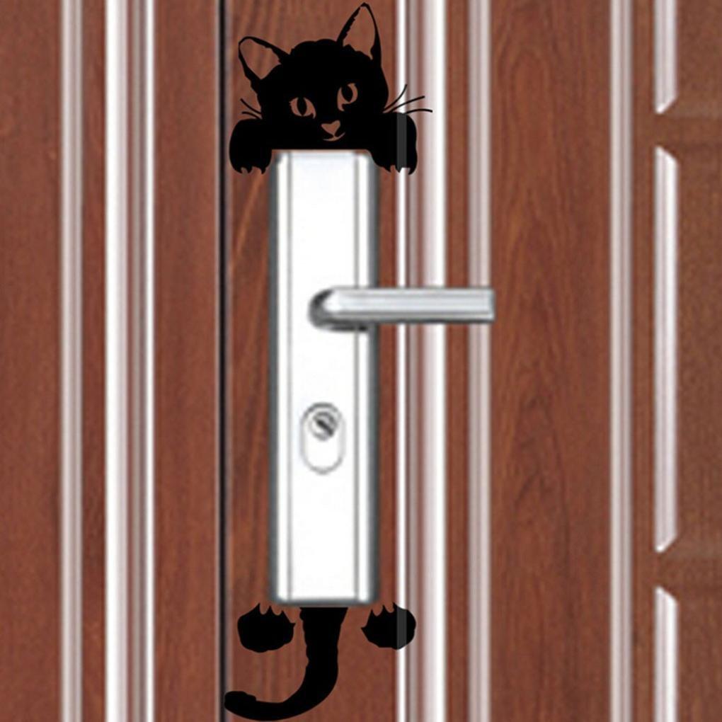 PAOLIAN Nuevas Etiquetas Engomadas De La Pared Del Gato Etiquetas Engomadas Ligeras De La Decoraci/óN Del Interruptor Mural Del Arte Sitio Del Cuarto De Ni/ñOs Del Beb/é Negro, PVC
