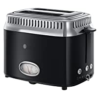 Russell Hobbs 21681-56 Toaster Retro Classic Noir, Retro Countdown-Anzeige, Schnell-Toast-Technologie, 1300 Watt, schwarz