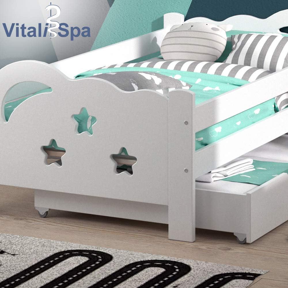 VitaliSpa Kinderbett Sari 160x80cm wei/ß mit Schubladen Jugendbett Rausfallschutz mit Matratze