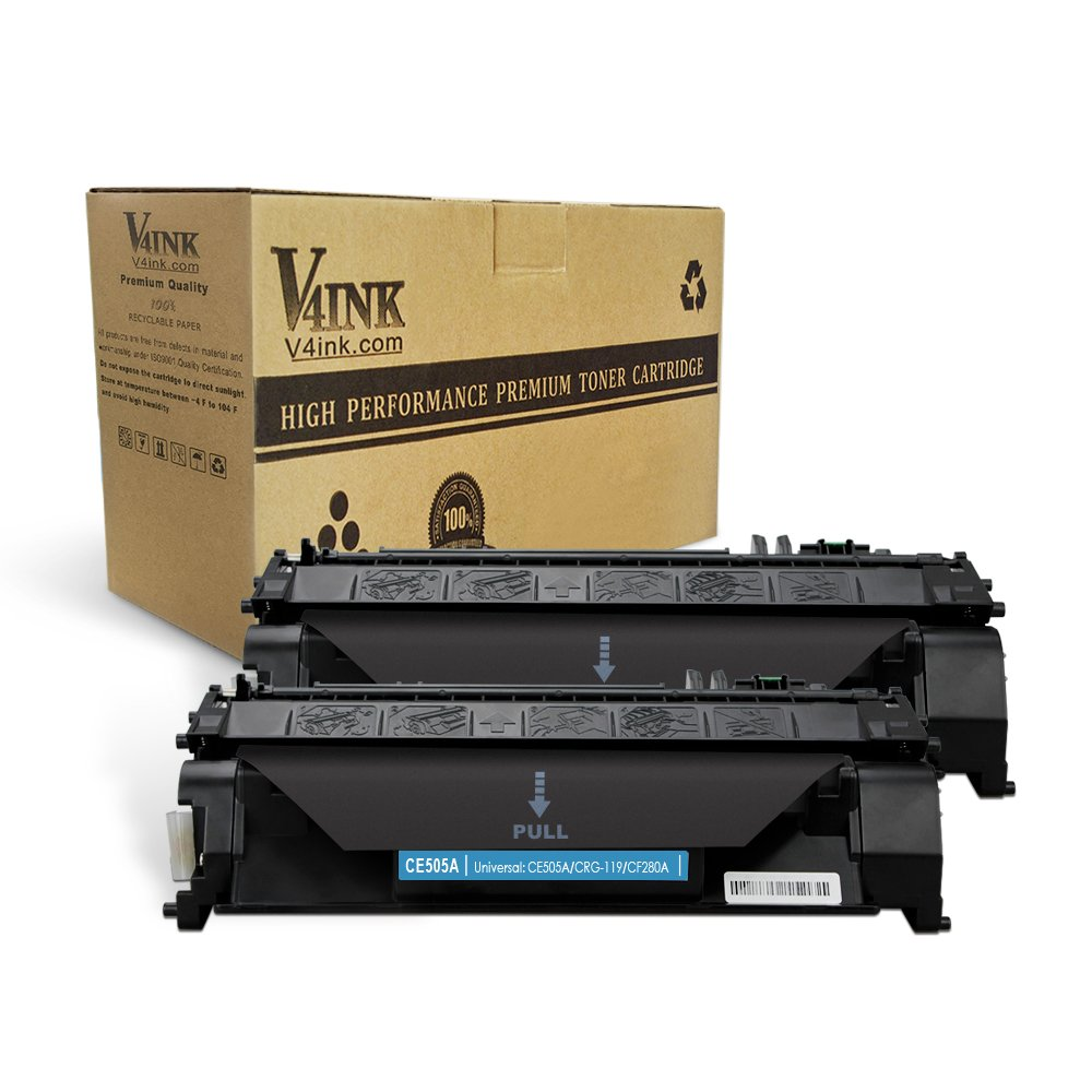 V4INK 2 Pack Compatible Replacement for HP 05A CE505A Toner Cartridge - Black for use in HP LaserJet P2035, P2035n, P2055dn, Laserjet Pro 400 M401 M425 series printers ZNH-CE505A-C02