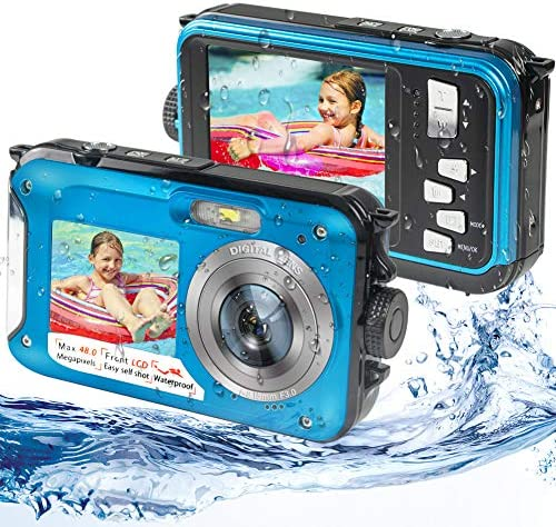 Waterproof Digital Camera Underwater Camera Full HD 2.7K 48MP Waterproof Camera with Dual Screen | 16X Digital Zoom | Flashlight