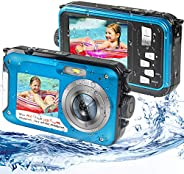 Waterproof Digital Camera Underwater Camera Full HD 2.7K 48MP Waterproof Camera with Dual Screen | 16X Digital