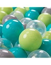 KiddyMoon 100 ∅ 7Cm Bolas Colores De Plástico para Piscina Certificadas para Niños, Turquesa Verde Claro Gris Transparente