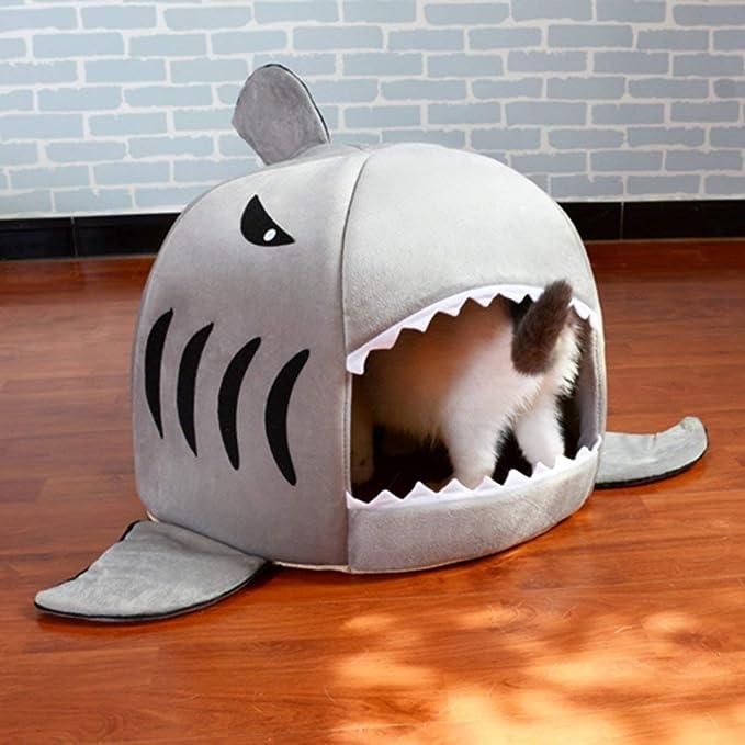 Cama para perros, mascotas cálidas, con forma de boca de tiburón única Cama para perros, suave y cálida Casa de perro de felpa Mascota impermeable Nido para ...