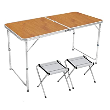 8a2eeabbfd2a Amazon.com: TY BEI Home Outdoor Camping Wooden Folding Table and ...