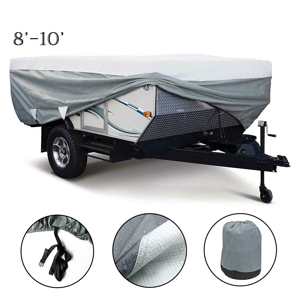 SUNWAN Camper Travel Trailer Cover,Breathable Water-Repellent Anti-U V,3-Ply Foldable,Fit for 12-14 RV