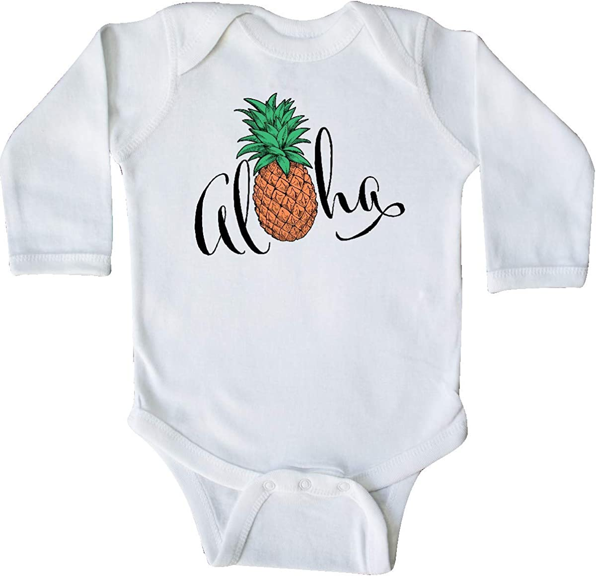 in Cursive with Pineapple Long Sleeve Creeper inktastic Aloha