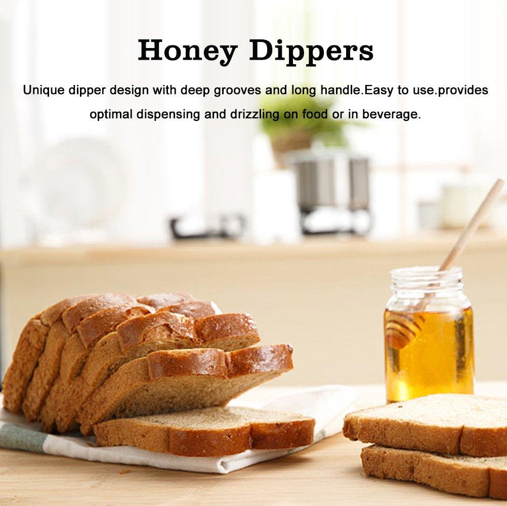 4.1 inches 50 Units//Set Wooden Home Mini Mermelada Honey Dipper Jar Dispensing Collecting Stirring Rod Stick 10.5 cm Honey Dipper Sticks