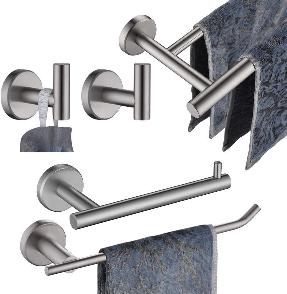 JQK Bathroom Hardware Towel Bar Set, 5-Piece Bath Accessories Set Brushed Finished Wall Mount Includes 24 in Towel Bar, 9 in HT Bar, TP Holder, Towel Hook x 2, BAS105-BN: Home & Kitchen