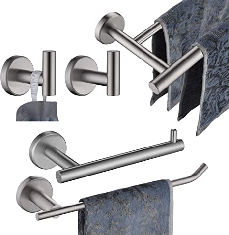 Amazon Com Jqk Bathroom Hardware Towel Bar Set 5 Piece Bath Accessories Set Brushed Finished Wall Mount Includes 24 In Towel Bar 9 In Ht Bar Tp Holder Towel Hook X 2 Bas105 Bn Home