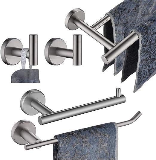 Bathroom Accessories Towel Rack Hanger Holder Hooks Set Black Wall Mount