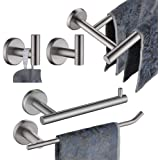 JQK Bathroom Hardware Towel Bar Set, 5-Piece Bath Accessories Set Brushed Finished Wall Mount Includes 24 in Towel Bar, 9 in