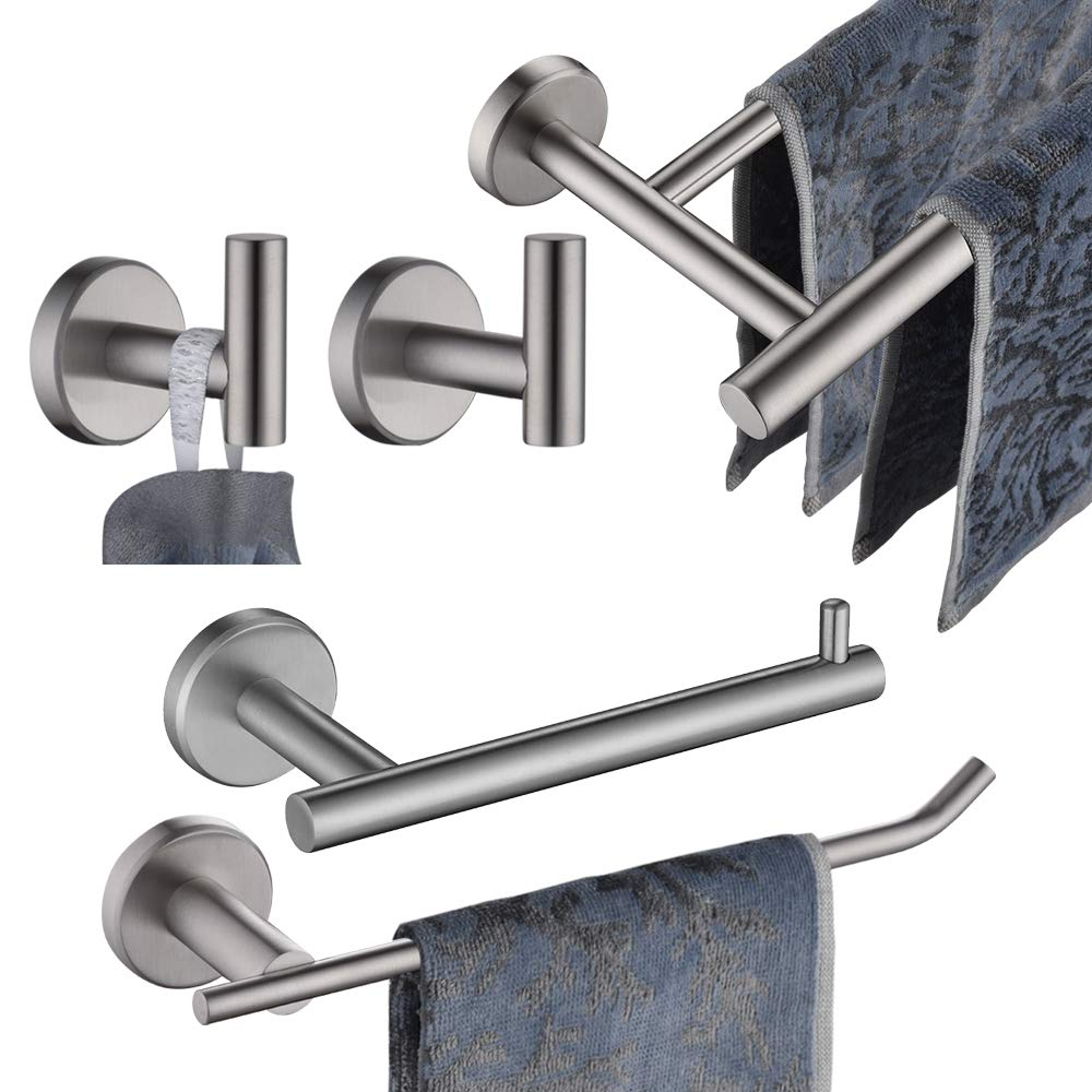 JQK Bathroom Hardware Towel Bar Set, 5-Piece Bath Accessories Set Brushed Finished Wall Mount Includes 24 in Towel Bar, 9 in HT Bar, TP Holder, Towel Hook x 2, BAS105-BN by JQK