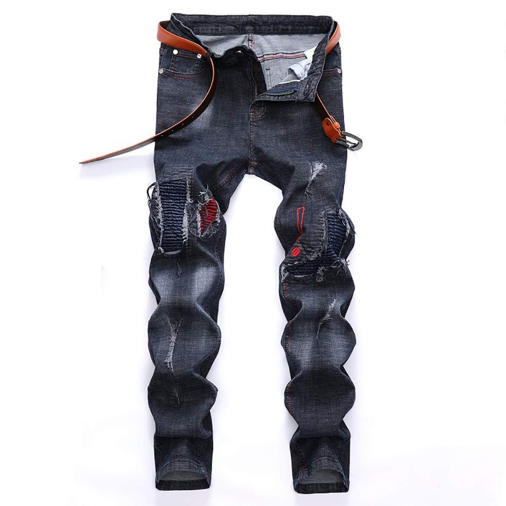 Cargo/&Chinos Mens Vintage Jeans Denim Folds Wash Work Frayed Zipper Basic Pants
