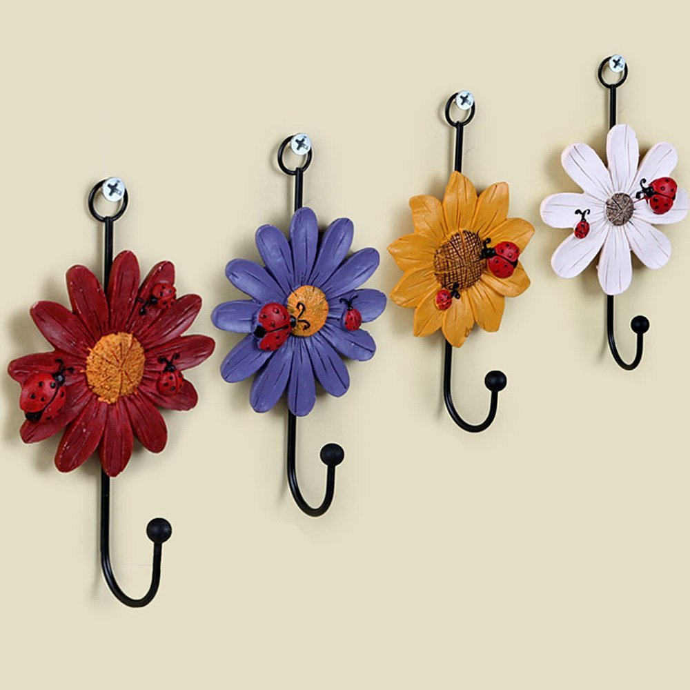 Creative Daisy Resin Wall Hooks Wall Mounted Art Flower Iron Hook Hand-painted Hanging Coat / Hat /Key/ Towel Hooks Home Decoration(Set of 4) by Skyling (Image #5)