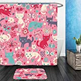 Vanfan Bathroom 2?Suits 1 Shower Curtains & ?1 Floor Mats funny cats cartoon seamless pattern for children background colorful wallpaper with cats 111023531 From Bath room