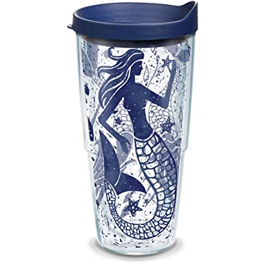 Tervis 1199037 Vintage Mermaid Collage Tumbler with Wrap and Navy Lid 24oz, Clear