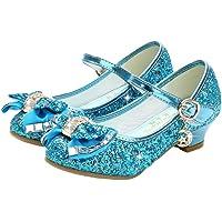 Fenical Niños Mary Jane Tacones Vestido de Fiesta para niñas Zapatos de Lentejuelas Bowknot Planos para Fiesta de Bodas Princesa Cosplay Danza