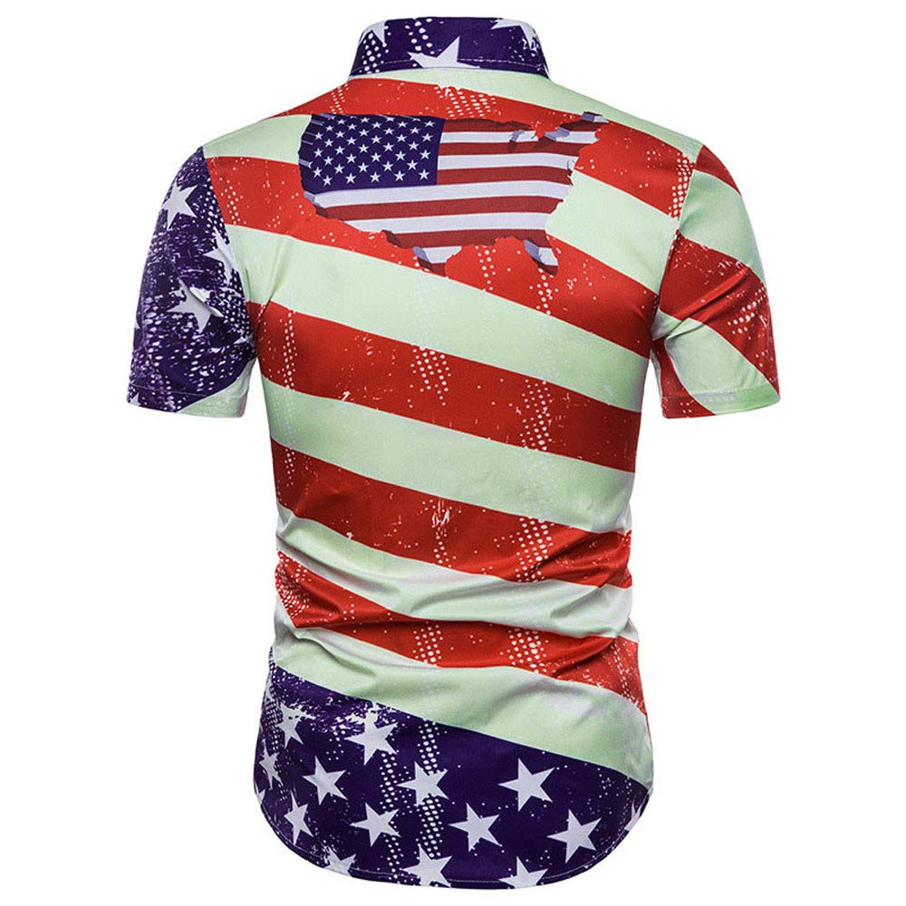 Mens Casual Slim Short Sleeve American Flag Printed Shirt Top Blouse B