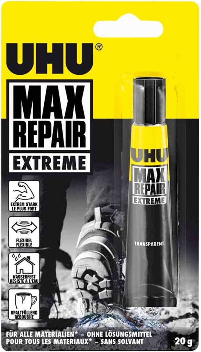 UHU Max Repair Extreme Pasta Adhesivo de polímero 20 g - Goma (Pasta, Adhesivo de polímero, Transparente, 15 min, 24 h, -40-120 °C)