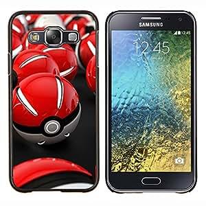 Qstar Arte & diseño plástico duro Fundas Cover Cubre Hard Case Cover para Samsung Galaxy E5 E500 (Red Poké Balls)