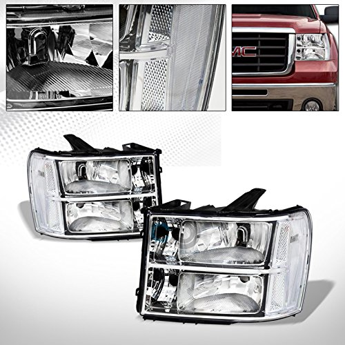 - Velocity Concepts Chrome Factory Style Crystal Clear Head Lights Signal Lamps NB for 2007-2014 GMC Sierra 1500/1500 Denali