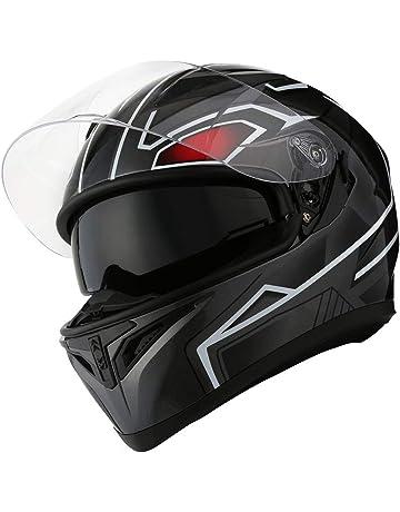 25050661 1STorm Motorcycle Street Bike Dual Visor/Sun Visor Full Face Helmet Panther  Black, Size