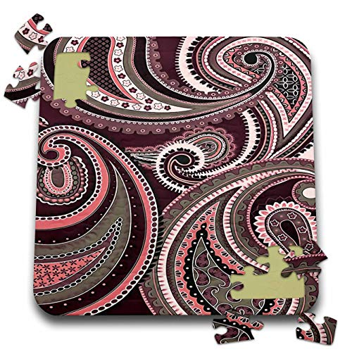 3dRose Taiche - Acrylic Painting - Paisley Pattern - Playing with Paisley Patterns Aubergine Tones - 10x10 Inch Puzzle (pzl_315651_2)