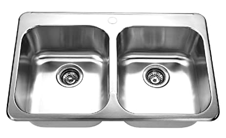 Lenova CA-TM-ED Top Mount Double Bowl Drop-in Kitchen Sink ...