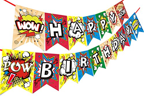 Threemart Happy Birthday Decorations Banner For Superhero Party Supplies Pennant