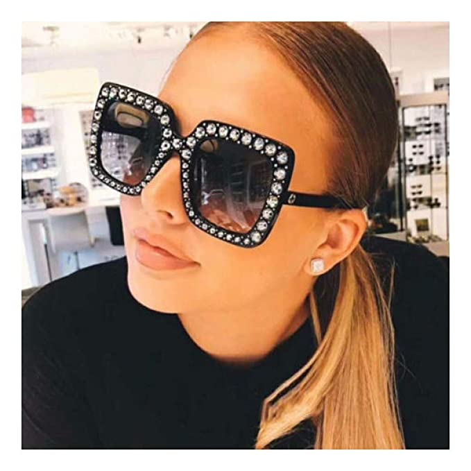 f305b2807bbd Image Unavailable. Image not available for. Color  Oversized Large Square  Frame Bling Rhinestone Sunglasses Women ...