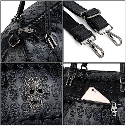 Style Washed Skull Shoulder Bag Leather PU Bag Studded Black 4 Tote Ladies Purse UTO Rivet Women w5q1PX56