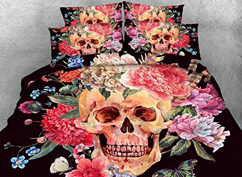 800 Thread Count Duvet Cover Sets Full Size, 3D Skull Bedding Sets Full Size,Skull Duvet Cover Sets for Teen Girls 4 Pieces,2 Pillowcases,1 Duvet/Quilt Cover,1 Flat Sheet,No Comforter (Full)