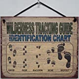 "Vintage Style Sign Saying, ""WILDERNESS TRACKING GUIDE IDENTIFICATION CHART (Hiker, Deer, Raccoon, Bear, Bigfoot)"" Decorative Fun Universal Household Signs from Egbert's Treasures"