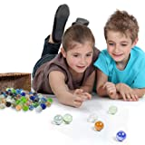 POPLAY 50 PCS Beautiful Player Marbles Bulk for