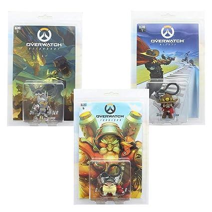 Overwatch Hanger Mini Figure & Comic Book Set of 3: McCree, Reinhardt, Torbjorn