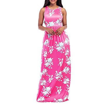 Smdoxi Sexy Women Floral Print Round Neck Sleeveless Long Maxi Casual Beach Dress For Photoshoot And