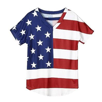 9c9069c8d34f9 Amazon.com  Goodtrade8® Plus Size Women s Patriotic American Flag Shirt  Striped V-Neck Short Sleeve Top Blouse USA Flag Tops Green  Shoes