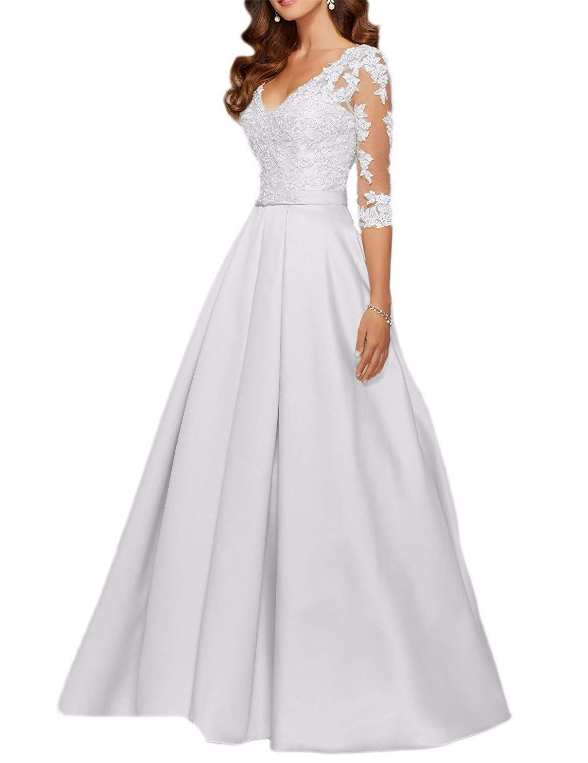 d4e2aa4019a Scarisee Women s 3 4 Long Sleeves V-Neck Beaded Evening Prom Party Dresses  Lace Appliqued Mother of The Bride Gowns Formal White 16