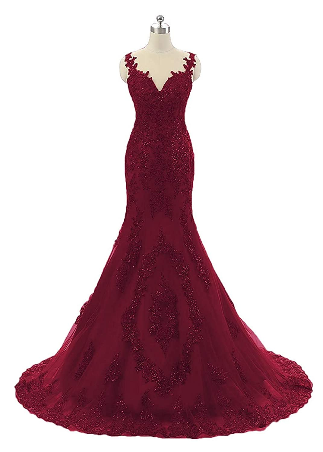 Burgundy Sexy Sequin Mermaid Prom Dresses Long Lace Backless Spaghetti Strap Womens Pageant Evening Party Gown