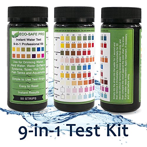 Water Test Strip Kit - 9 in 1, 9-Way for Drinking Water Quality, Way Water, Hard Water and Total Hardness, Water Softener Systems, Spas, Hot Tubs, Fish Tanks and Aquariums. Easy Professional Results