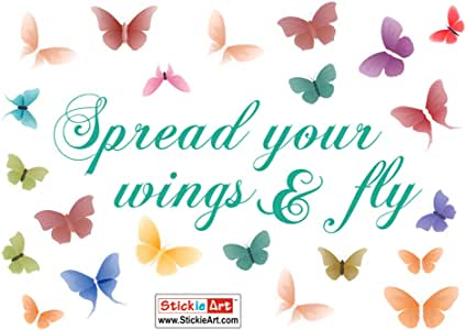 Stickieart Spread Your Wings & Fly Butterflies Wall Decal, Multi-Colour, 50 x 70 cm, STA-196
