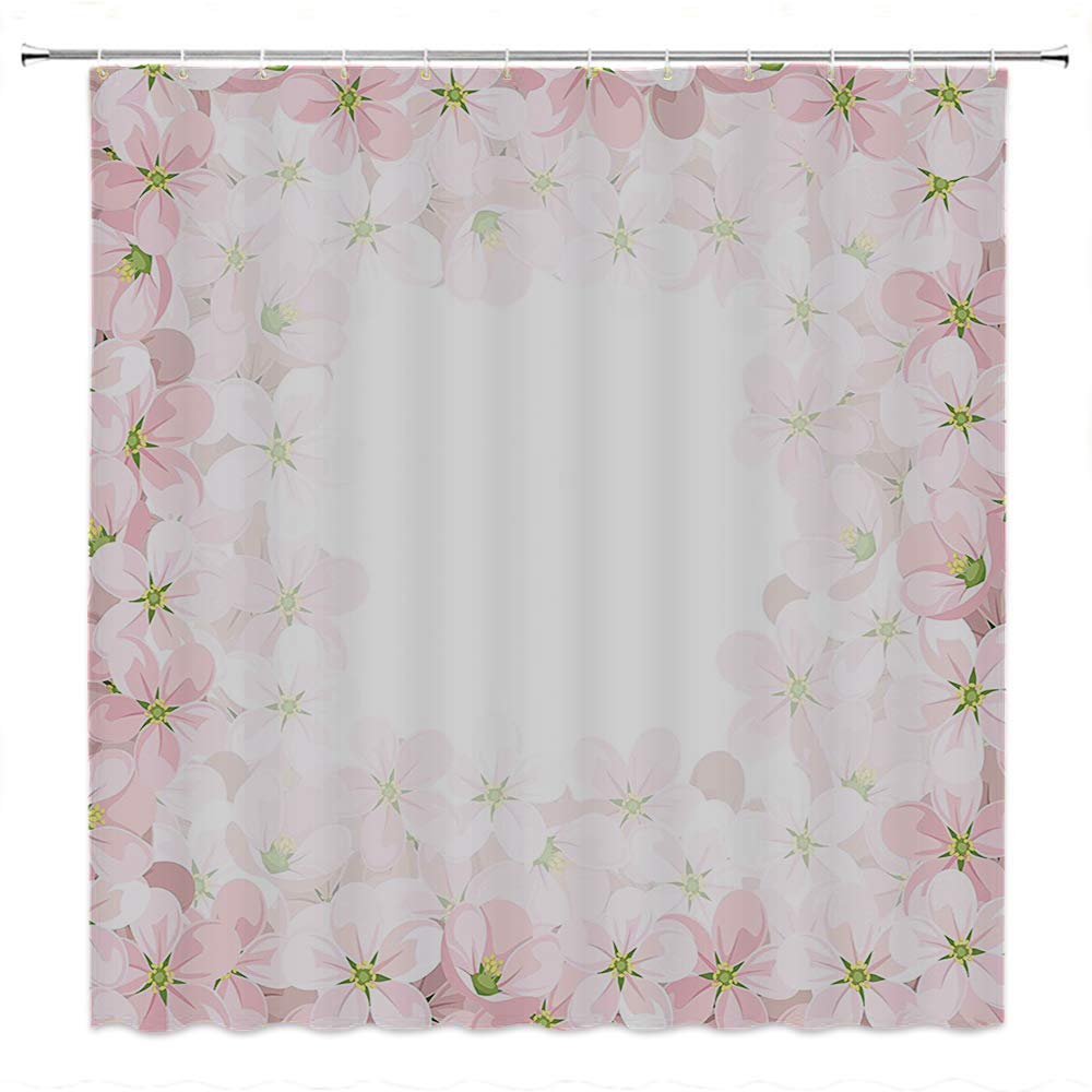 SATVSHOP Kids Shower Curtain-Floral omantic Apple Flower Petals Blooms Nature Sence Beauty Bouquet Image Baby Pink Lime Green.W72 x L90 inch