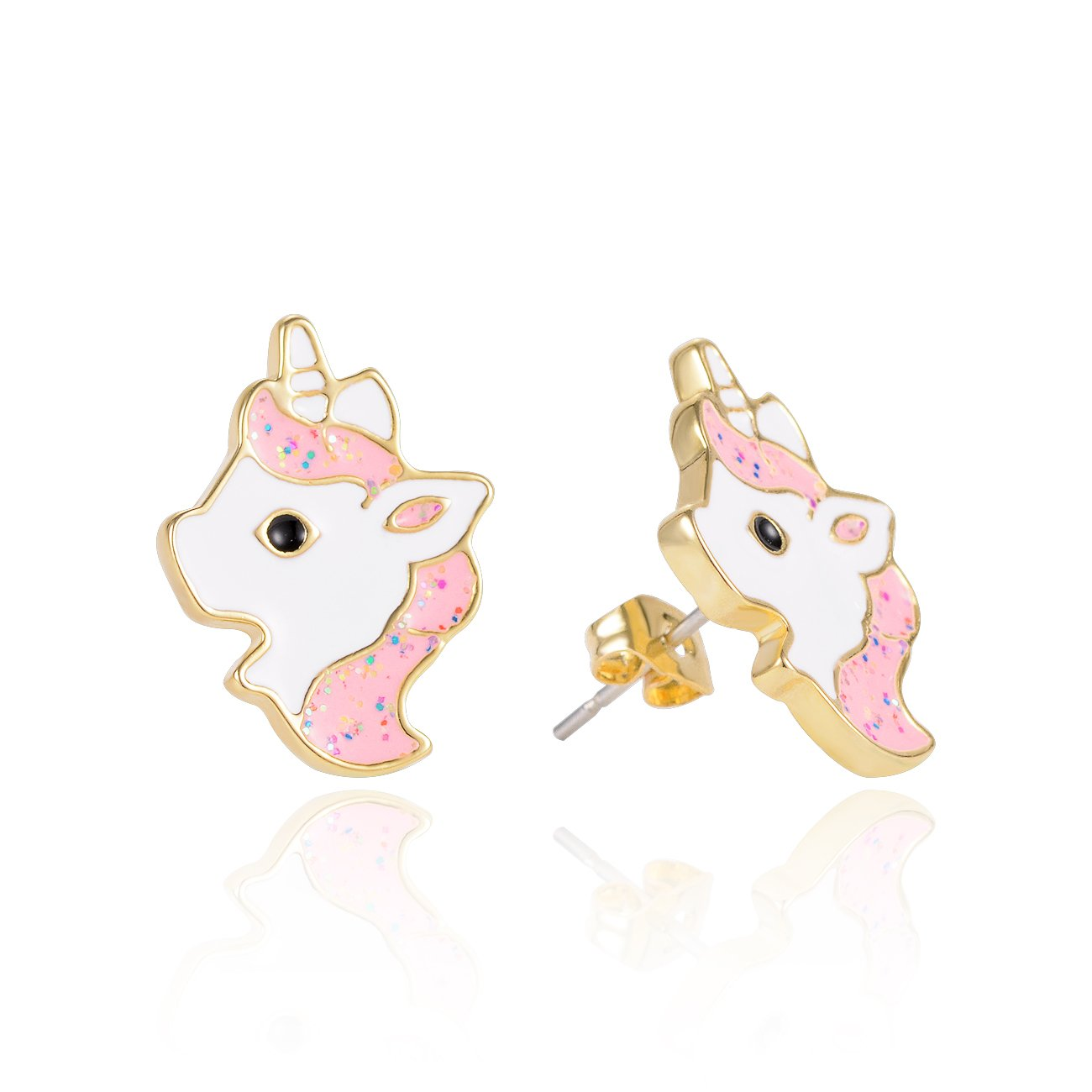 Hypoallergenic Silver Unicorn Stud Earrings for Little Girls Kids Pink Purple Enamel Unicorn Jewelry Birthday Party Gifts for Women (Pink)