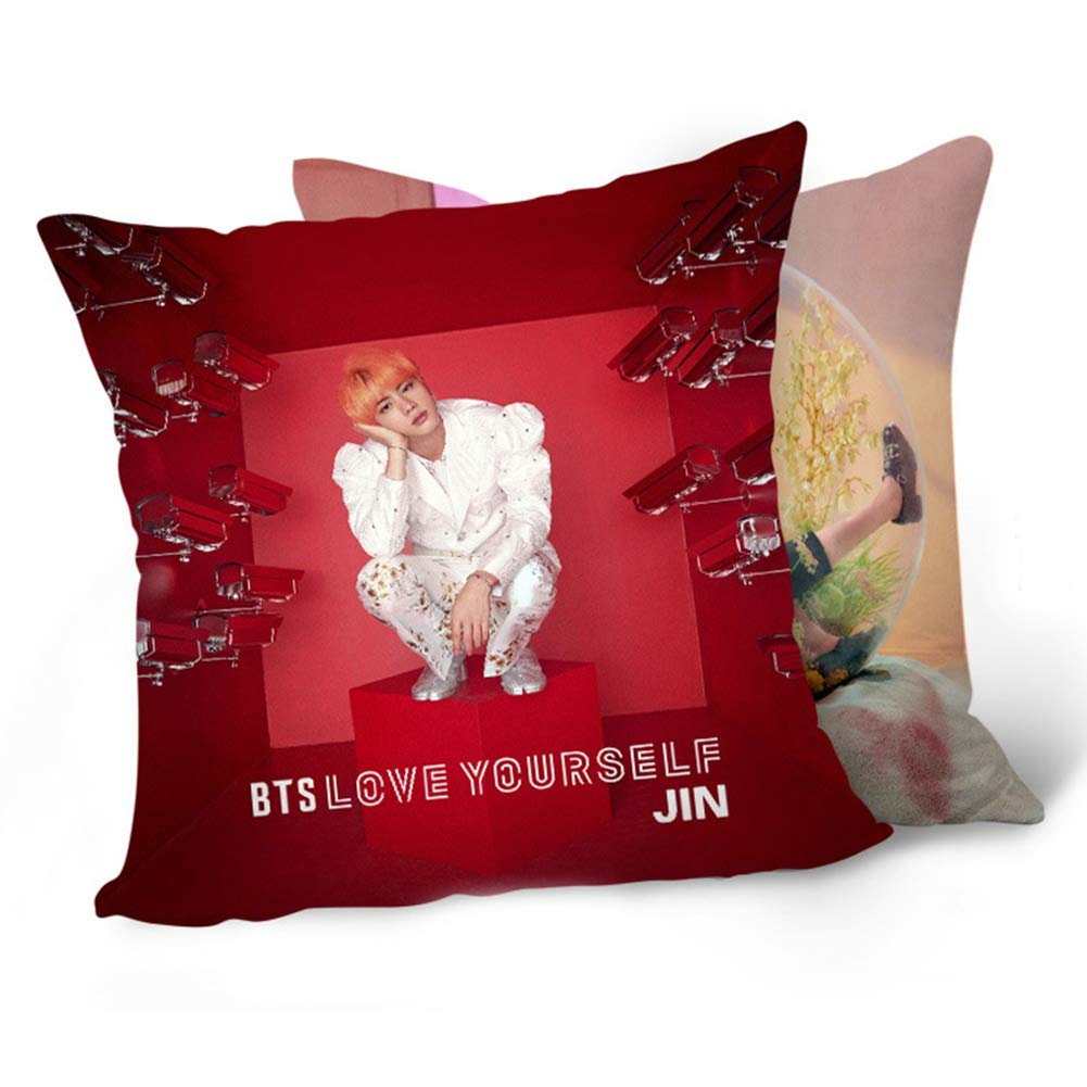 "Skisneostype BTS New Album《LOVE YOURSELF 结 ""Answer》BTS Bangtan Boys Pillowcase Sofa Throw Pillow Cushion Case 16X16 Inch Perfect for Home/Car/Office/Travel/School Decor Great Gift(H01-BTS)"