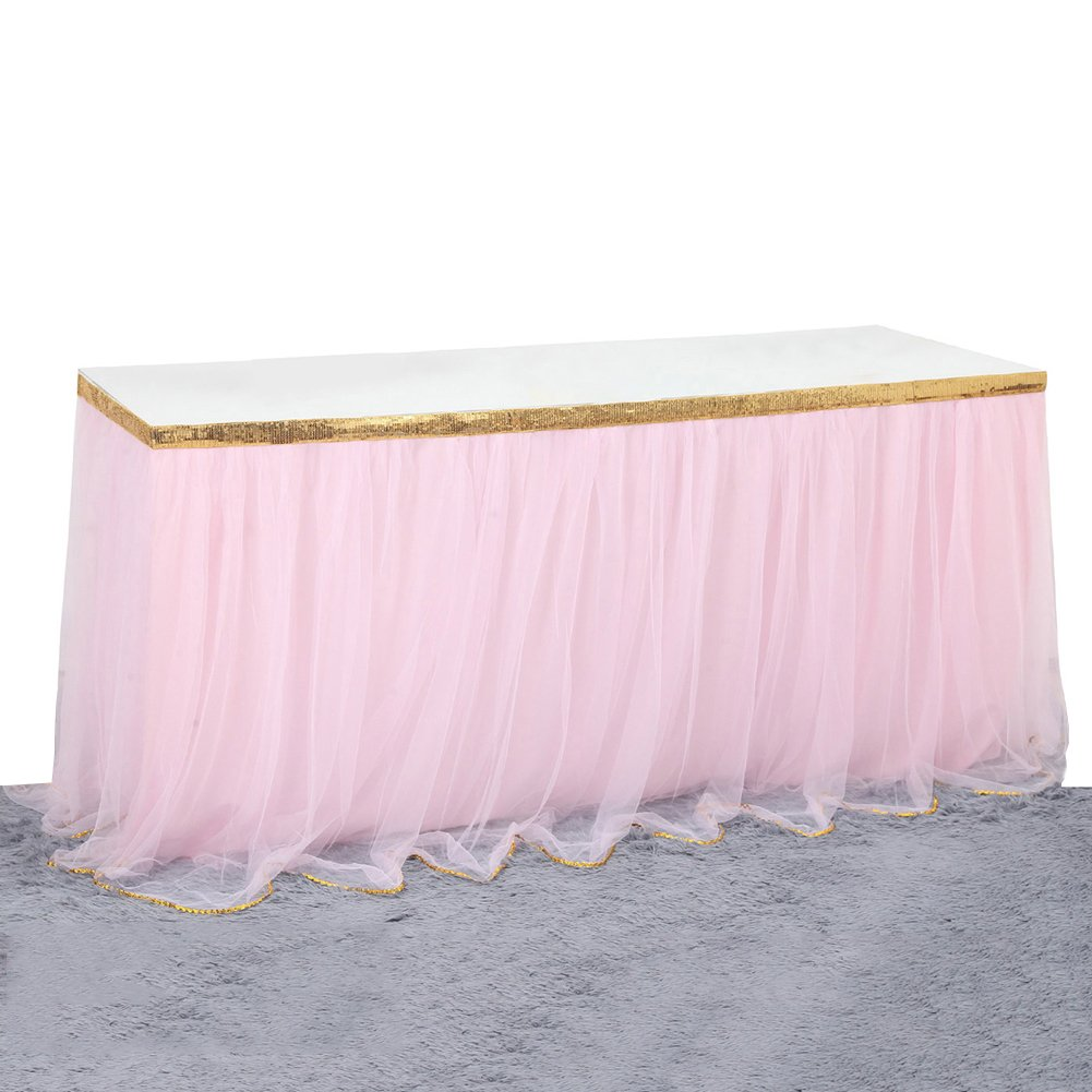 9ft Tutu Table Skirt Tulle Tableware Table Cover For Party,Wedding,Birthday Home Decoration,Pink with Gold Ribbon